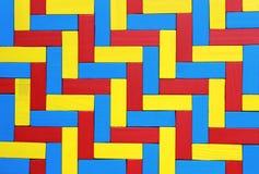 Шевронная картина, положенная с красочными деревянными блоками стоковые фотографии rf