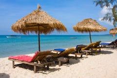 Шезлонги на пляже Стоковая Фотография