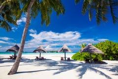 Шезлонги под umrellas и пальмы на пляже Стоковые Изображения RF
