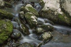 Шелковистая вода падая над мхом покрыла утесы стоковые фотографии rf
