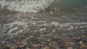 Шелковистые волны на камешках моря Пляж гонта видеоматериал