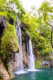 Шелковистые потоки водопада окруженные лесом в озерах национальном парке Plitvice, Хорватии Стоковое Изображение