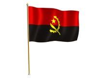 шелк флага Анголы Стоковые Фото