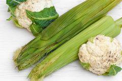 2 шелухи удара зеленых мозоли и цветной капусты 2 Стоковая Фотография