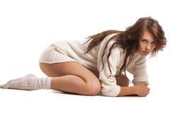 шерсти белизны свитера девушки Стоковое Изображение RF