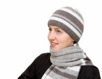 шерсти женщины шарфа нося Стоковое Фото