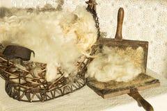 Шерсти овечки девственницы, античная карточка шерстей Стоковая Фотография