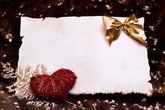 Шерсть искусства пергамента с сердцем и золотыми самородками Стоковая Фотография