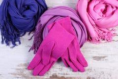 Шерстяные перчатки и шарфы для женщины на старой деревянной предпосылке Стоковое Изображение RF