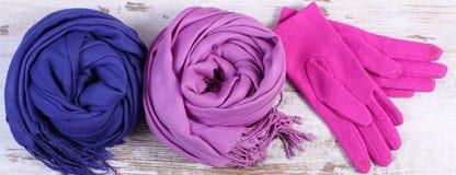 Шерстяные перчатки и шарфы для женщины на старой деревянной предпосылке Стоковые Изображения