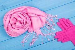 Шерстяные перчатки и шаль на женщина на досках, одежда на осень или зима Стоковое Изображение RF