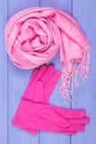 Шерстяные перчатки и шаль на женщина на досках, одежда на осень или зима Стоковые Фотографии RF