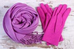 Шерстяные перчатки и шаль для женщины на старой деревянной предпосылке Стоковые Фото