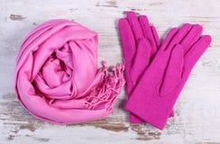 Шерстяные перчатки и шаль для женщины на старой деревянной предпосылке Стоковые Изображения