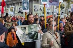Шествие бессмертного полка в Санкт-Петербурге Росси-мамы Стоковые Изображения RF
