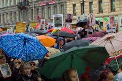 Шествие бессмертного полка в Санкт-Петербурге Росси-мамы Стоковые Изображения