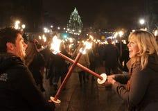 Шествие torchlight Эдинбург Стоковые Изображения