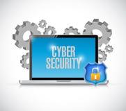 Шестерни и экран компьютера безопасностью кибер Стоковые Фотографии RF