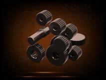 Шестерни металла перевод 3d Стоковые Фотографии RF