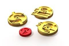 Шестерни с золотым знаком доллара, фунтом, символом евро, illustrati 3D Стоковые Фотографии RF
