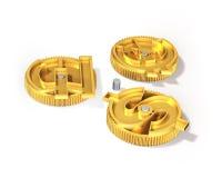 Шестерни с золотым знаком доллара, фунтом, символом евро, illustrati 3D Стоковые Фото