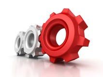 3 шестерни cogwheel с красным руководителем на белой предпосылке иллюстрация штока