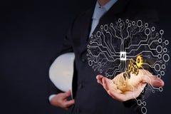 Шестерня выставки руки бизнесмена золотая к успеху иллюстрация штока