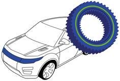 Шестерня и автомобиль Стоковые Изображения RF