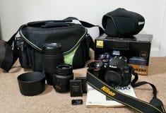 Шестерня камеры Nikon стоковое фото