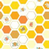 Шестиугольная картина предпосылки с пчелами бесплатная иллюстрация