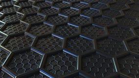 Шестиугольники черноты конспекта пластиковые Современная технология связала перевод 3D стоковые фото
