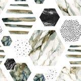 Шестиугольник с нашивками, мрамор акварели цвета воды, grained, grunge, бумажные текстуры иллюстрация штока