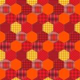 Шестиугольник тканей безшовной заплатки картины оранжевый Стоковое фото RF