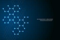Шестиугольного дна молекулы структуры предпосылки системы нейронов, генетических и химических соединений, медицинских или научных бесплатная иллюстрация