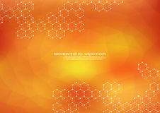 Шестиугольное дна молекулы Молекулярная структура системы нейронов генетический и химическое соединение Химия, медицина иллюстрация штока
