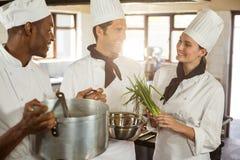 Шеф-повара говоря пока подготавливающ еду Стоковые Изображения