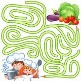 Шеф-повара помощи маленькие найти путь к овощу лабиринт Головоломка Игра лабиринта для малышей иллюстрация штока
