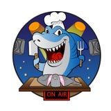 Шеф-повар акулы шаржа Стоковые Фото