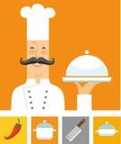 Шеф-повар, апельсин и покрашенные плоские значки Иллюстрация вектора