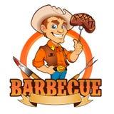 Шеф-повар барбекю ковбоя Стоковое Изображение RF