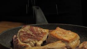 Шеф-повар брызгает соль на зажаренном в духовке мясе в конце-вверх лотка акции видеоматериалы