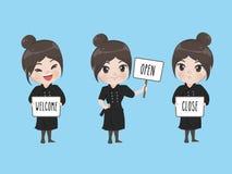 Шеф-повар девушки держит signage иллюстрация штока