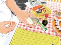 шеф-повар делая суши Стоковое Фото