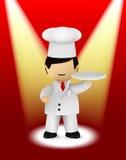шеф-повар держа итальянскую плиту бесплатная иллюстрация