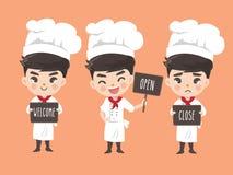 Шеф-повар держит signage иллюстрация вектора