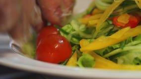 Шеф-повар делает вегетарианский салат акции видеоматериалы