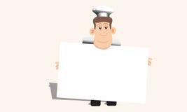 Шеф-повар задерживает пустое меню бесплатная иллюстрация
