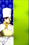 шеф-повар искусства покрыл тарелку w deco иллюстрация вектора