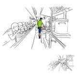 Шеф-повар и клиенты в магазине рамэнов vector dood эскиза иллюстрации Стоковое фото RF