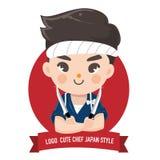 Шеф-повар и нож мальчика Японии иллюстрация штока